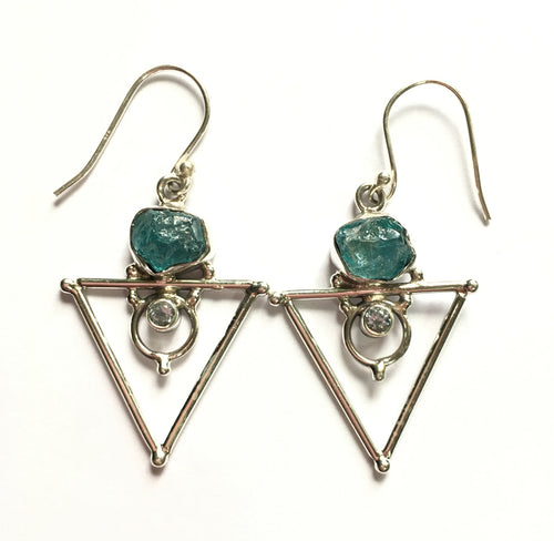 Apatite Earrings Raw Neon Blue with Blue Topaz accents