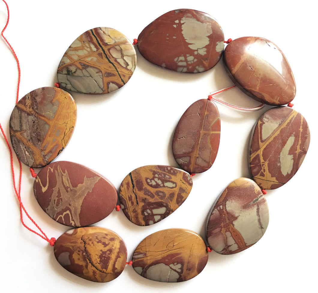 Noreena Jasper beads - free-form strand that are graduated in size