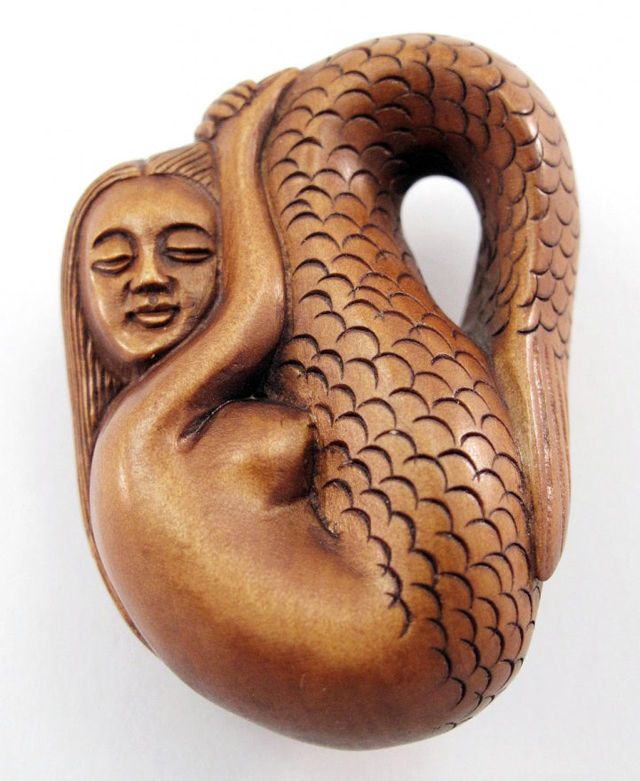Resting Mermaid Japanese Netsuke Bead