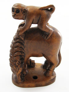 Monkey on Horse Japanese Boxwood Netsuke Bead