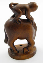Load image into Gallery viewer, Monkey on Horse Japanese Boxwood Netsuke Bead
