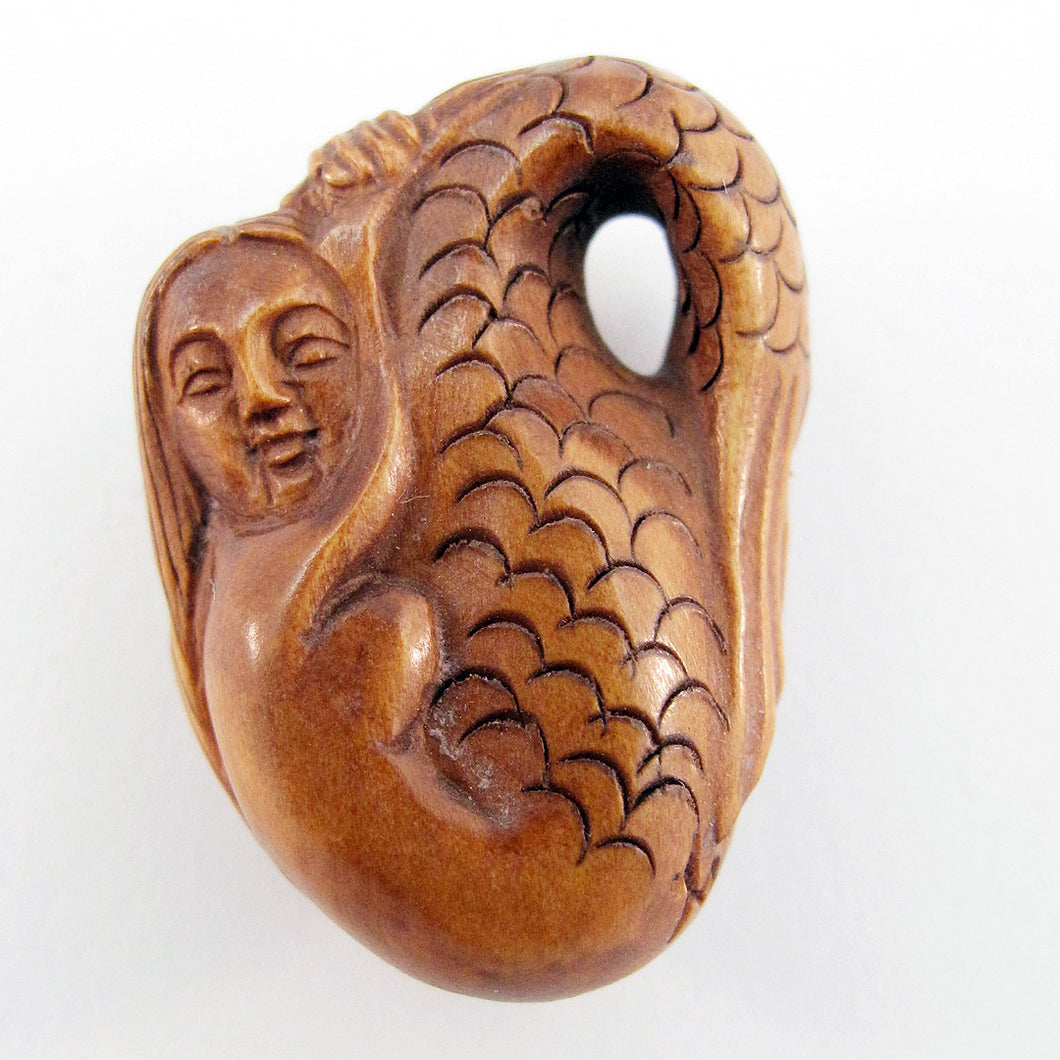 Resting Mermaid Boxwood Ojime Bead