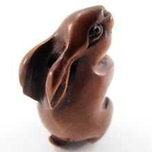 Load image into Gallery viewer, Standing Bunny bead Boxwood Ojime Bead