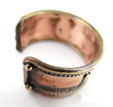 Load image into Gallery viewer, Om Mani Padme Hum Man's Adjustable Ring Hand-Made Brass and Copper Ring