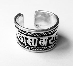 Om Mani Padme Hum Man's Adjustable Ring Hand-Made White-Brass Ring