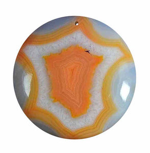 Orange and White Banded Agate Geode 36mm Round Cabochon