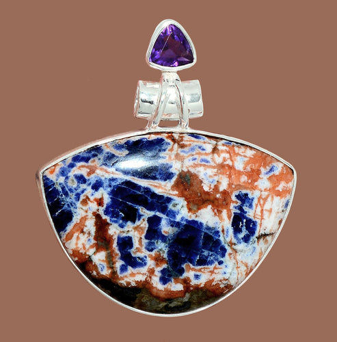 Sunset Sodalite Pendant with Amethyst