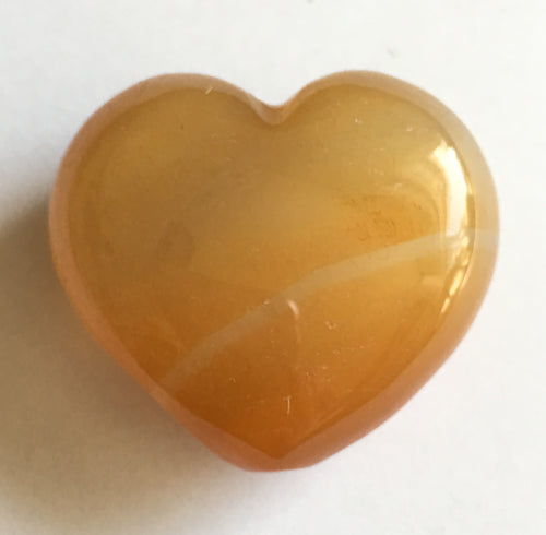 Orange Calcite Puffy Heart 30mm