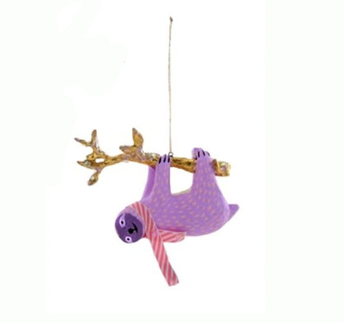 Lavender Pastel Sloth Ornament with striped scarf