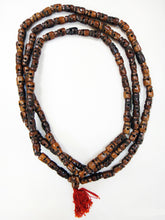 Load image into Gallery viewer, Skull Mala Dark Stained Water Buffalo Bone 60 Inch Mala Style Prayer Beads