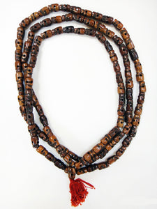Skull Mala Dark Stained Water Buffalo Bone 60 Inch Mala Style Prayer Beads
