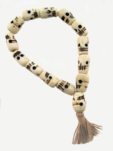 Skull Bracelet of Yak Bone Beads Beaded Tassel Bracelet