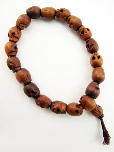 Wooden Skull Bead Stretch Bracelet
