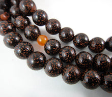 Load image into Gallery viewer, Buddhist Prayer Beads Dark Lotus Seed and Carnelian Mala with Macrame
