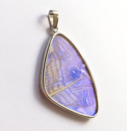 Butterfly Wing Pearl Blue Morpho Pendant in Size Large