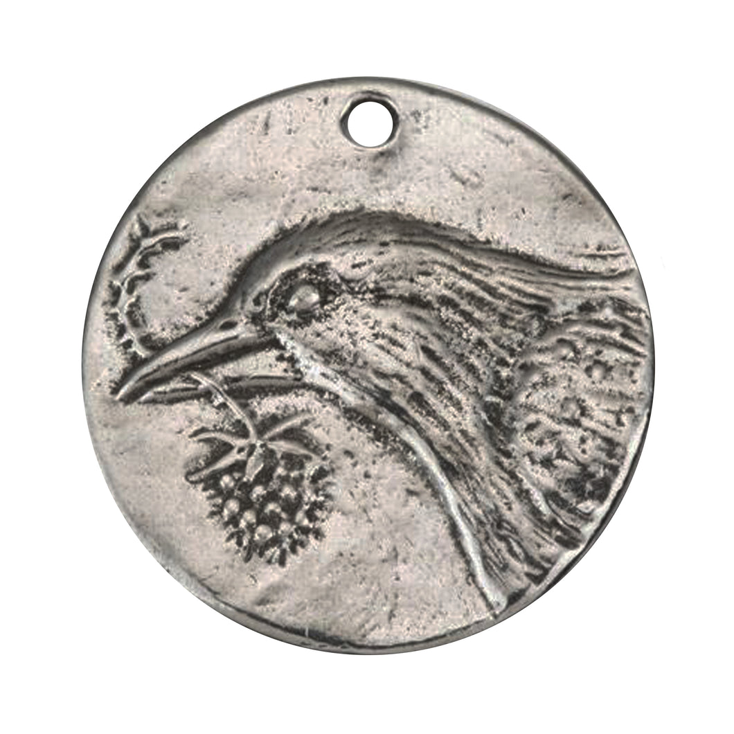Bird of Hope Coin Pendant in Pewter by Green Girl Studios