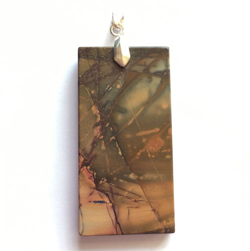 Picasso Stone Pendant  in smoky orange and blue in rectangular tile shape