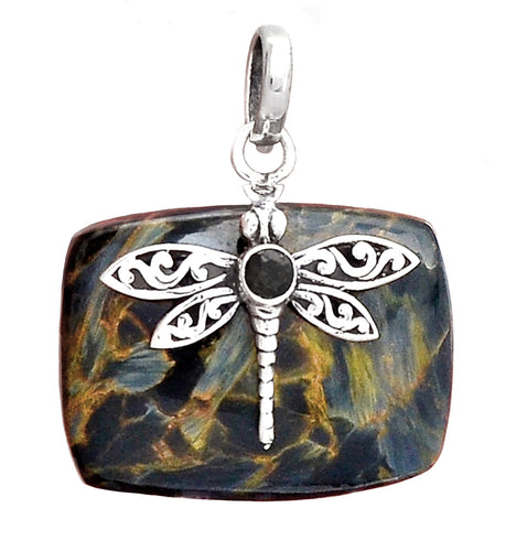 Pietersite Pendant in domed rectangle adorned with Smoky Topaz in Sterling Silver Dragonfly