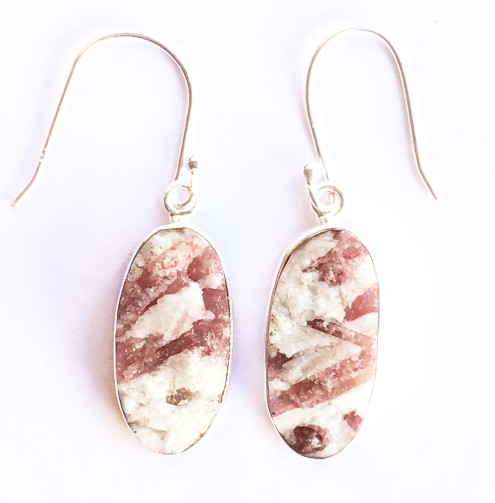 Pink Tourmaline In Quartz Earrings