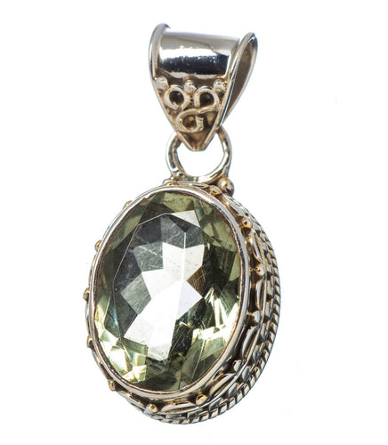 Green Quartz Pendant Prasiolite in Sterling Silver filigree setting