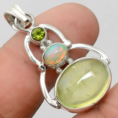 Prehnite Pendant with Ethiopian Opal and Peridot