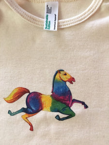 Horse American Apparel Organic Cotton Jersey Onesie 6-12 Months Old