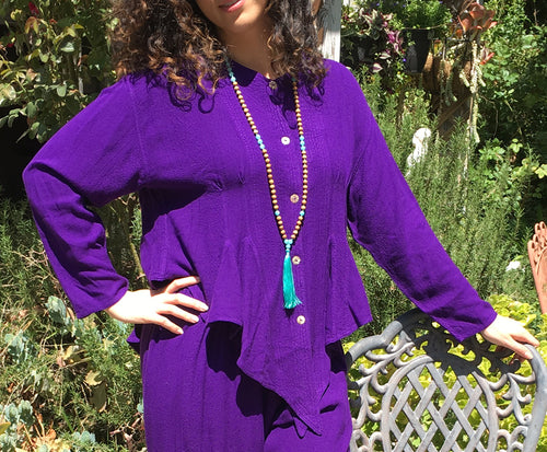 Tienda Ho Moroccan Royal Purple Cotton Rayon Tapered Najma Tunic Top that is reminiscent of Sherwood Forest