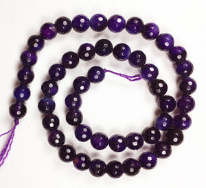 "Purple Cracked Agate 16"" Strand of 8mm Faceted Beads"