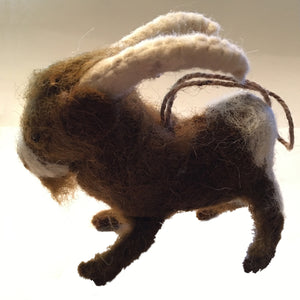 Pygmy Goat Ornament Felted in cocoa brown