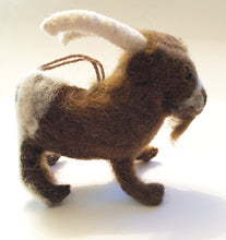 Load image into Gallery viewer, Pygmy Goat Ornament Felted in cocoa brown