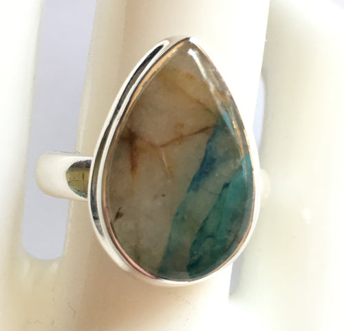 Quantum Quattro Silica TM teardrop-shaped sterling silver ring size 8.5