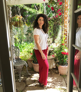 Tienda Ho Harem Cherry Red Cotton Rayon Moroccan Pants
