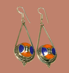 Lapis Lazuli Earrings with Red Coral Nepalese Sterling Silver Priestess Moon Earrings