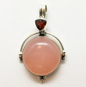 Rose Quartz Pendant with a Garnet Accent