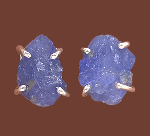 Tanzanite Silver Stud Earrings