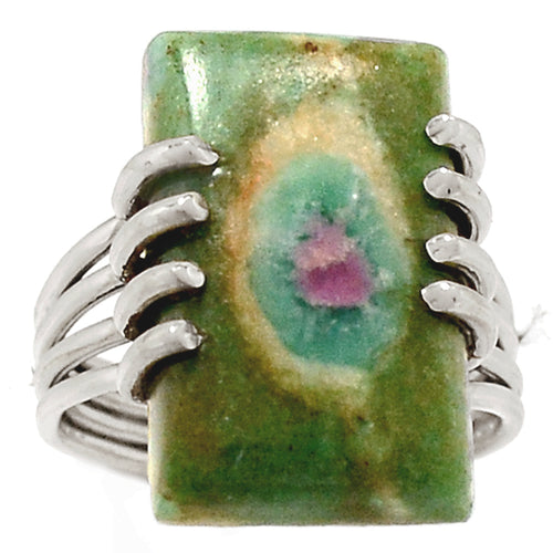 Ruby Fuchsite Ring Rectangular Silver 4-Band Ring size 6.5