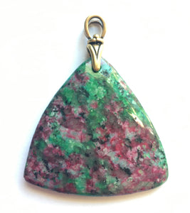 Ruby in Fuchsite Pendant with Art Deco reproduction brass bail