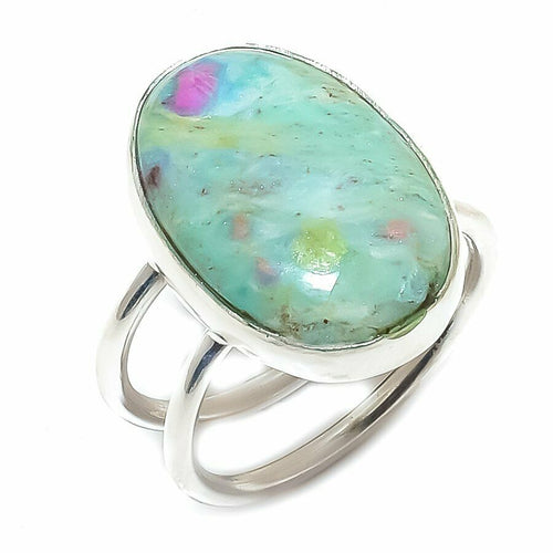 Ruby Fuchsite Ring with sleek adjustable band from 6 to 9 or more