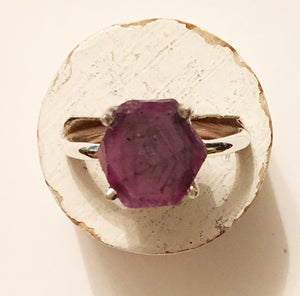 Natural Ruby Ring size 5.5 slice of Ruby Stalactite