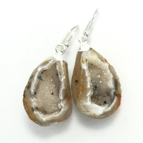 Agate Geode in Sand Tones with Druzy Earrings with Silver Ear Wires