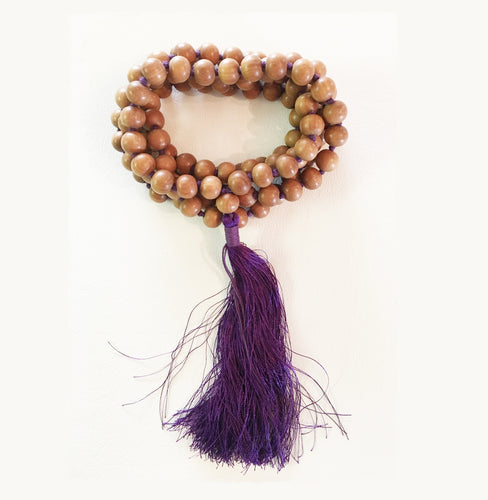 Sandalwood Mala 9.5mm Beads with Purple Tassel