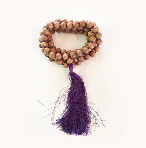 Sandalwood 10mm Knotted Mala with Purple Tassel
