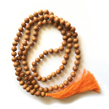 Load image into Gallery viewer, Sandalwood Mala 10mm Beads with Light Orange Tassel
