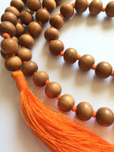 Load image into Gallery viewer, Sandalwood Mala 10mm Beads with Orange Tassel
