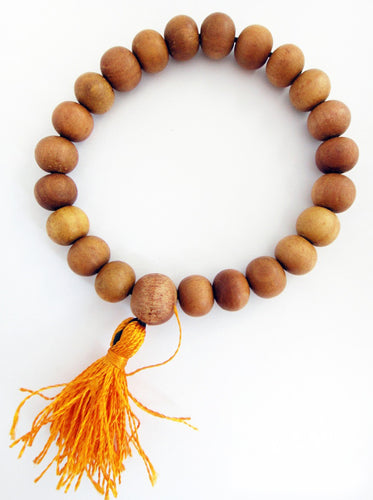 Sandalwood Mala beads Bracelet 10mm beads with Orange Tassel