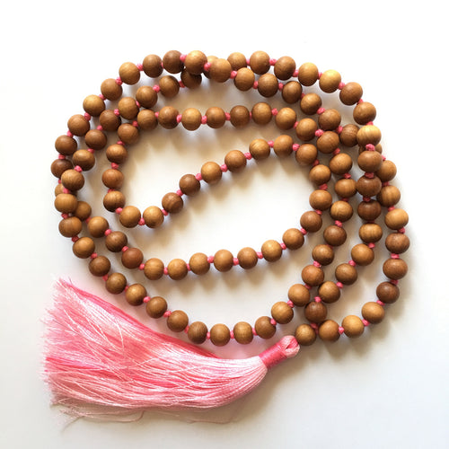 Sandalwood 8mm Knotted Mala with Pink Silk Tassel