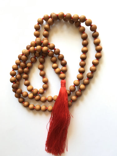 Sandalwood Mala 10mm Beads with Red Silk Tassel