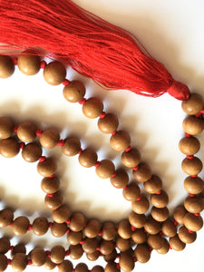 Sandalwood Mala 8mm Bead Knotted with Red Silk Tassel