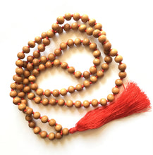 Load image into Gallery viewer, Sandalwood Mala 10mm Beads with Red Silk Tassel