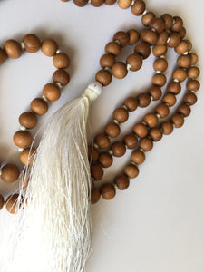 Sandalwood Mala 8mm bead knotted with white silk tassel